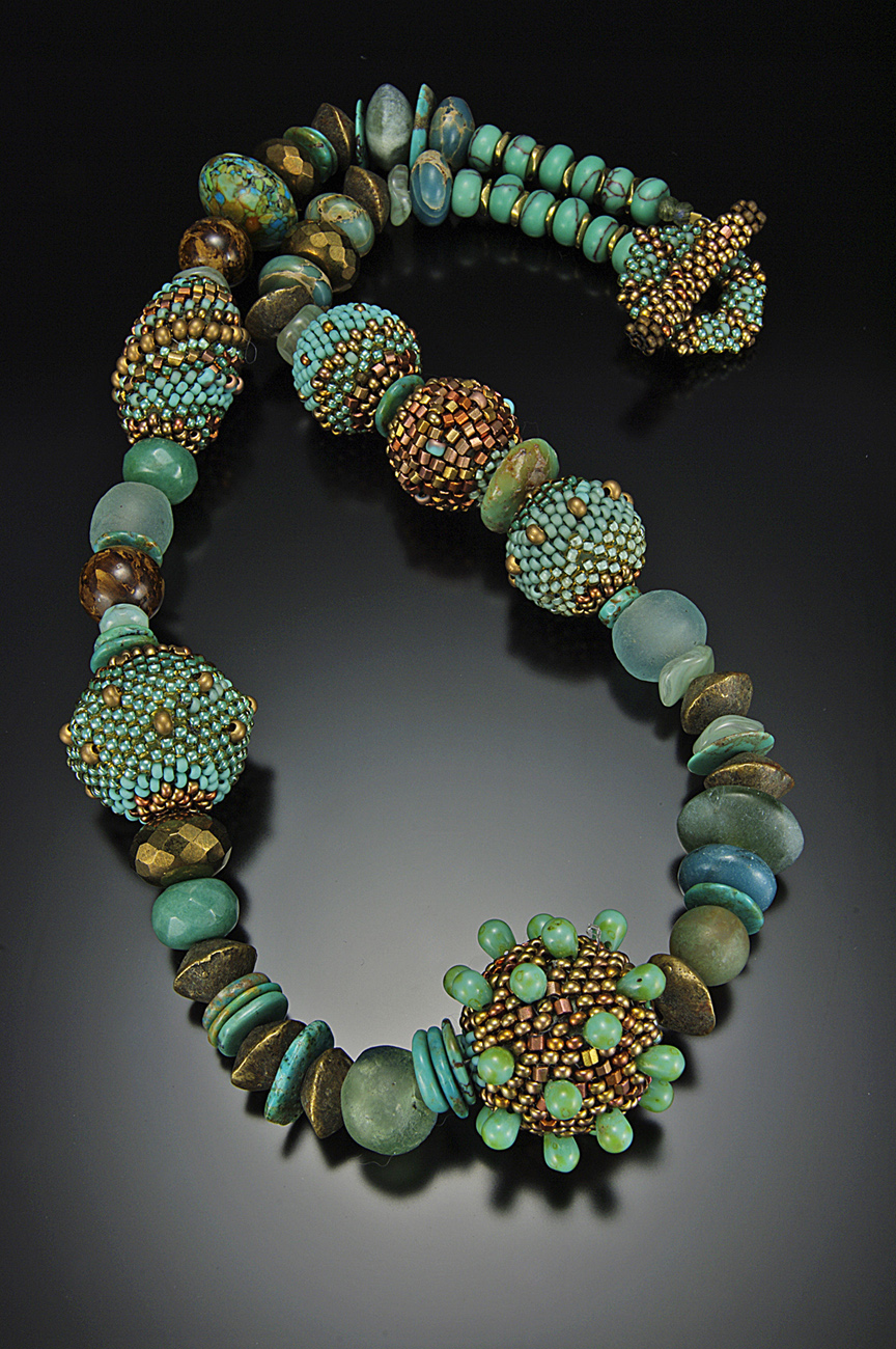 Beaded Bead Necklace Turquoise Patina Julie Powell Design