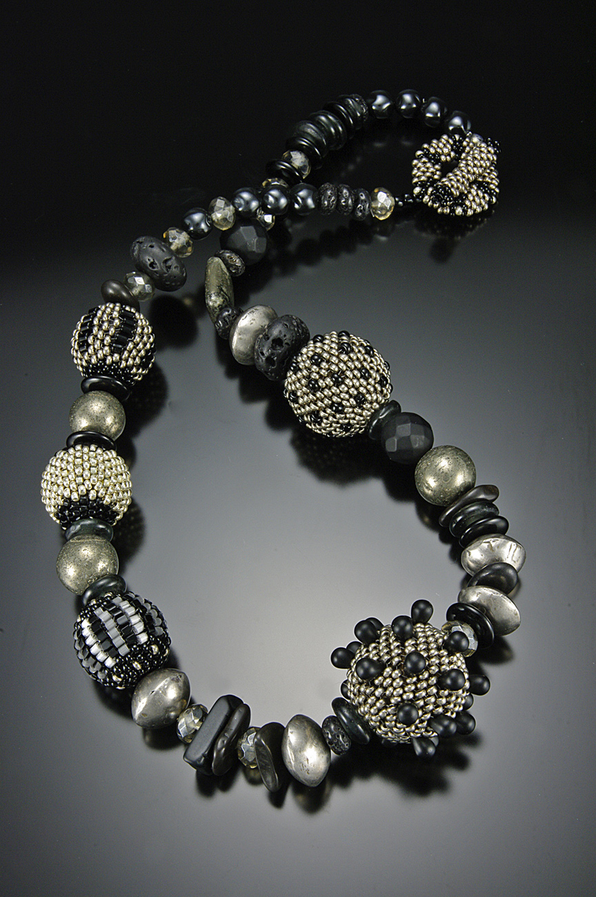 custom gold made and silver jemosher elegant black by beaded necklace in